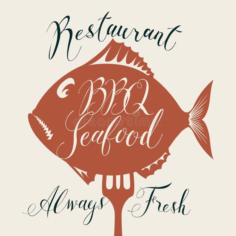 Меню морепродуктов BBQ с рыбами на вилке и надписи иллюстрация штока