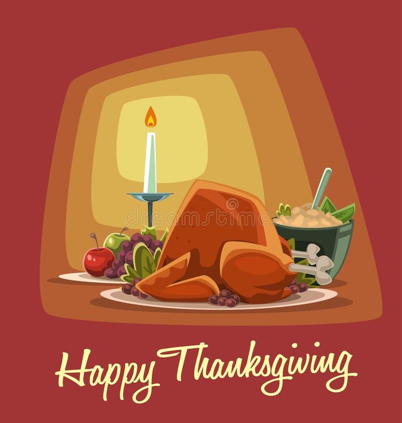 Меню обедающего благодарения шаржа вектора с зажаренными в духовке плодоовощами и картофельным пюре индюка бесплатная иллюстрация