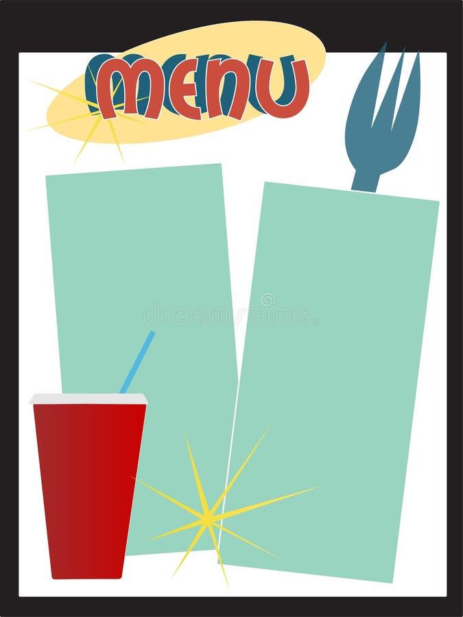 меню обедающего ретро иллюстрация штока