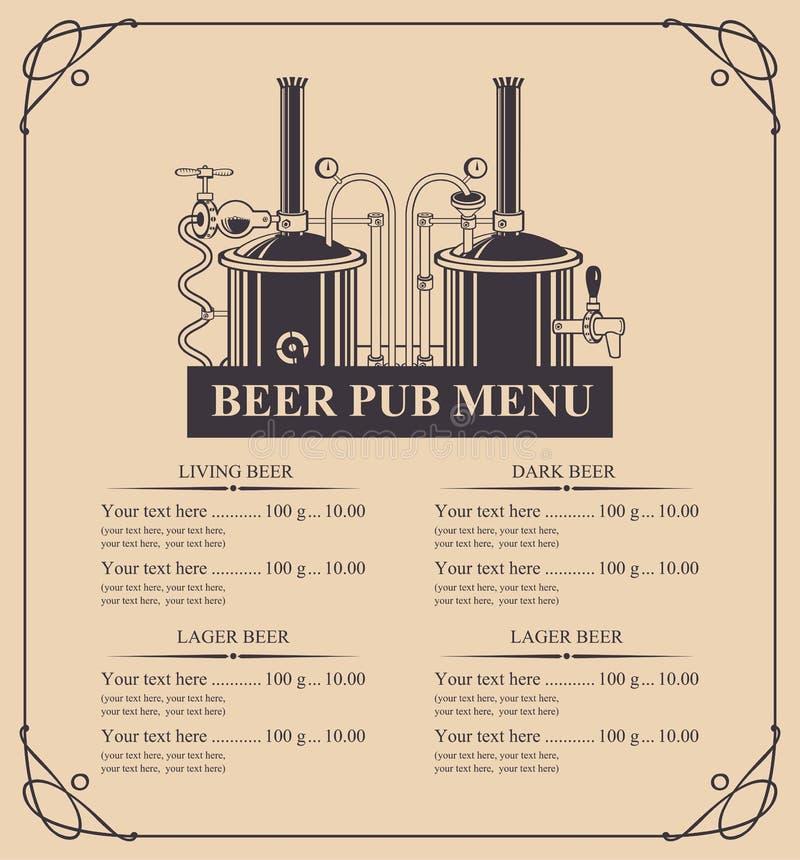 Меню паба пива с списком цен на товары в ретро стиле иллюстрация вектора