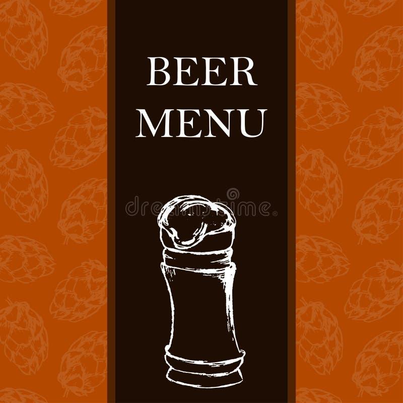 Меню пива Ретро карточка или рогулька Тема ресторана Illustr вектора бесплатная иллюстрация