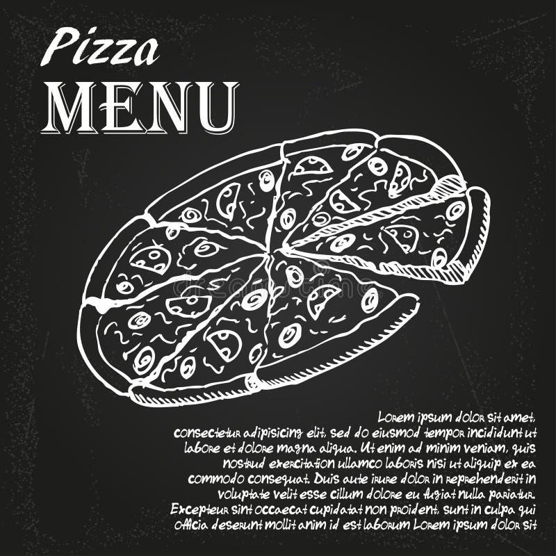 Меню 4 пиццы иллюстрация вектора