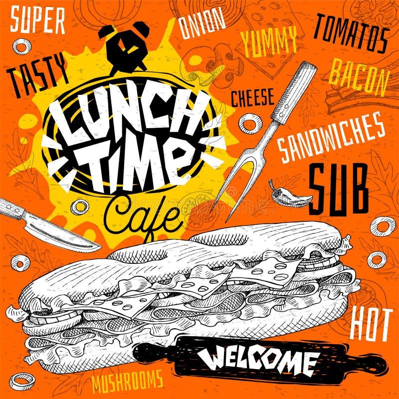 Меню ресторана кафа времени обеда Vector карточки рогульки фаст-фуда сандвичей подводной лодки для кафа бара бесплатная иллюстрация