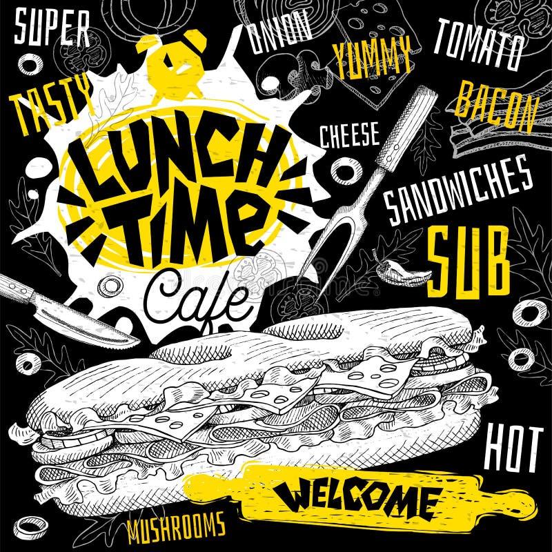 Меню ресторана кафа времени обеда Vector карточки рогульки фаст-фуда сандвичей подводной лодки для кафа бара иллюстрация штока