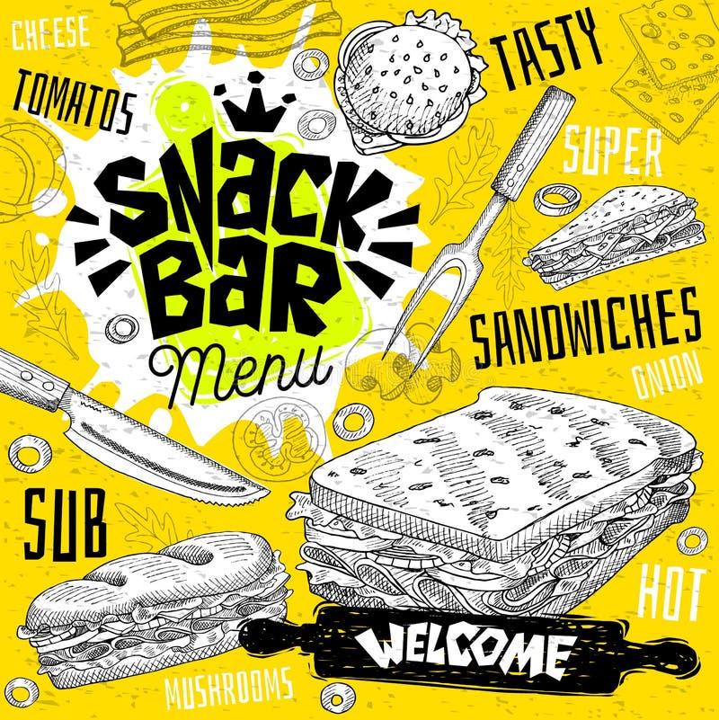 Меню ресторана кафа снэк-бар Vector карточки рогульки фаст-фуда сандвичей подводной лодки для кафа бара иллюстрация штока