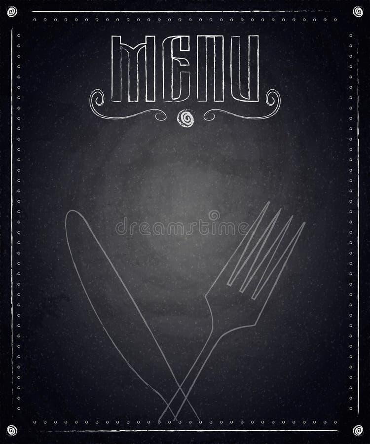 Меню ресторана на черной предпосылке доски иллюстрация вектора