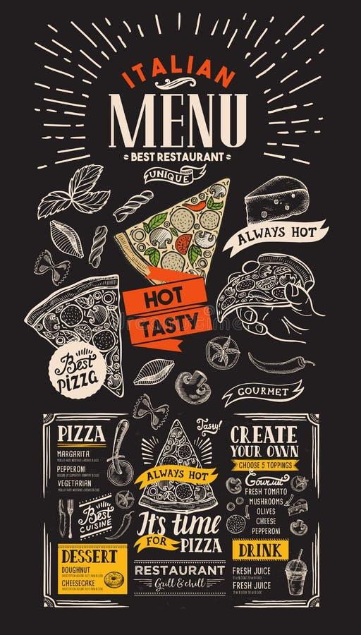 Меню ресторана пиццы Итальянская рогулька еды для бара и кафа desi иллюстрация штока