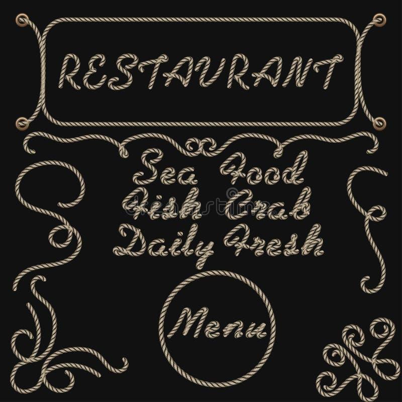 Меню ресторана продукта моря литерности руки веревочки бесплатная иллюстрация
