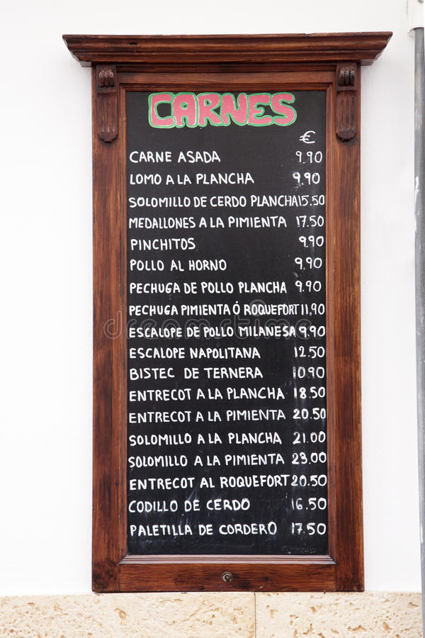 Меню тап, Испания стоковые фотографии rf