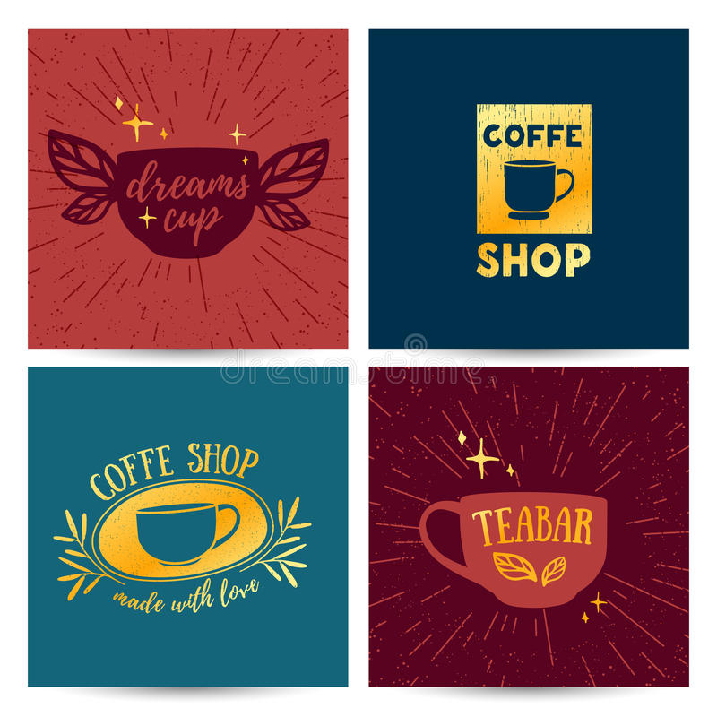 Меню шаблона установленного дизайна, карточка, плакат с ретро винтажными логотипами для кофейни иллюстрация вектора