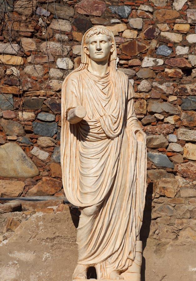 Мерида, эстремадура, Испания Римская статуя императора Augustus стоковые фотографии rf