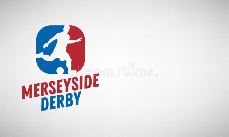 Мерсисайд Дерби Ливерпуля и Манчестера, Великобритании, Англии Дизайн эмблемы ярлыка логотипа футбола или футбола с иллюстрация вектора