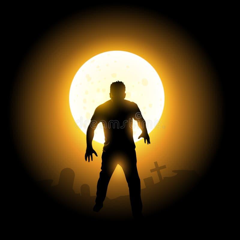Мертвое зомби поднимая хеллоуин иллюстрация вектора