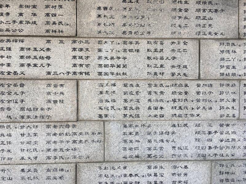 Мертвые имена ` s людей на стене в музее бойни Нанкина стоковые изображения