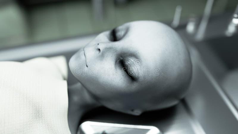 Мертвый чужеземец в морге на таблице Футуристическая концепция аутопсии перевод 3d иллюстрация вектора