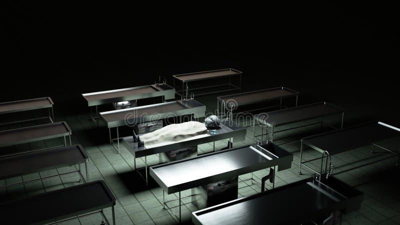 Мертвый чужеземец в морге на таблице Футуристическая концепция аутопсии перевод 3d бесплатная иллюстрация