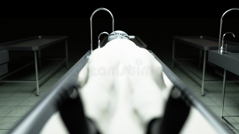 Мертвый чужеземец в морге на таблице Футуристическая концепция аутопсии перевод 3d иллюстрация штока