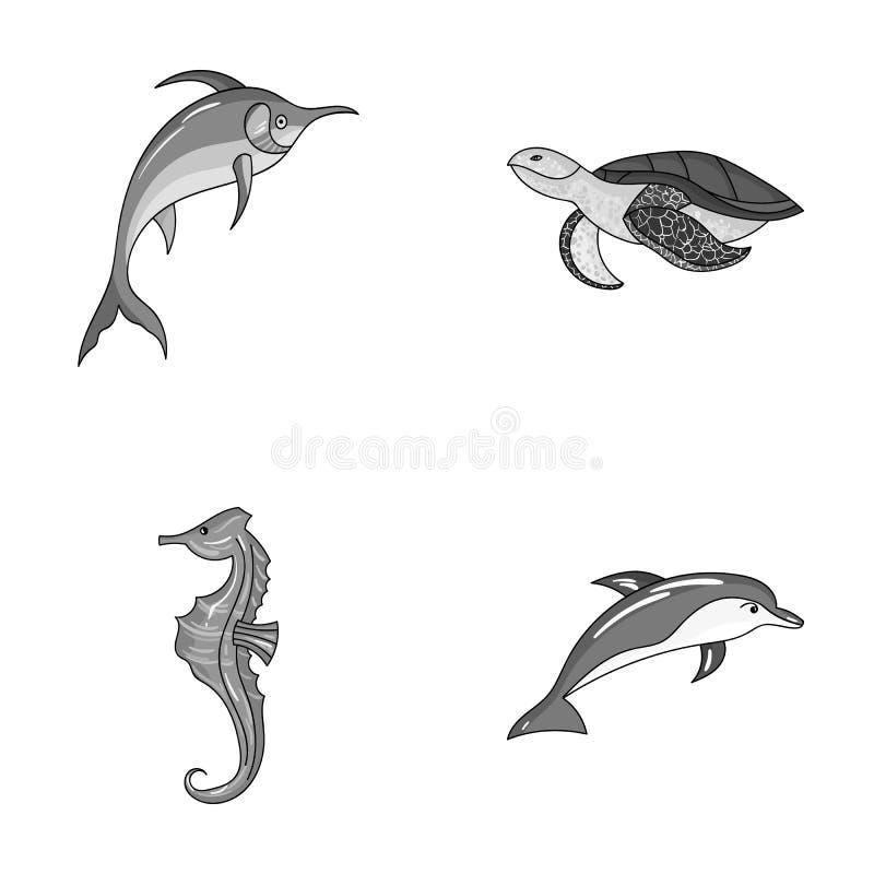 Мерлин, черепаха и другой вид Морские животные установили значки собрания в monochrome иллюстрации запаса символа вектора стиля иллюстрация вектора