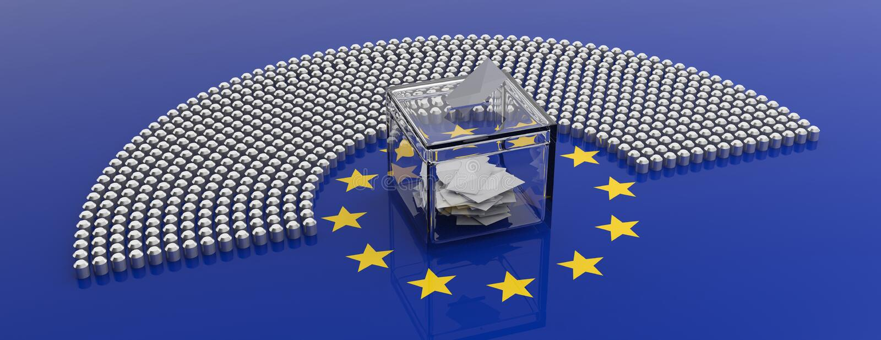 Места парламента Европейского союза и голосуя коробка на предпосылке флага ЕС иллюстрация 3d иллюстрация штока