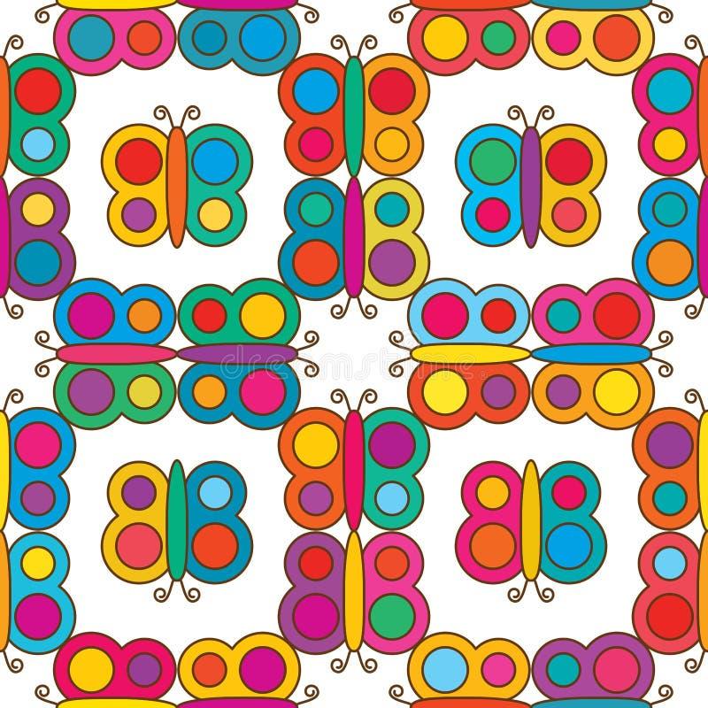 Места симметрии бабочки картина красочного безшовная иллюстрация вектора
