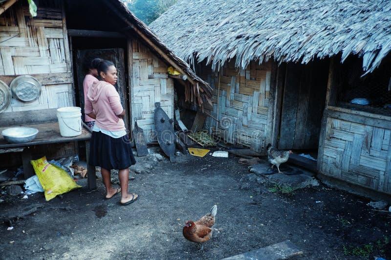 местные девушки деревни ждать рядом с их традиционным бамбуковым сплетенным домом хижины пальмы с цыпленком стоковое фото rf