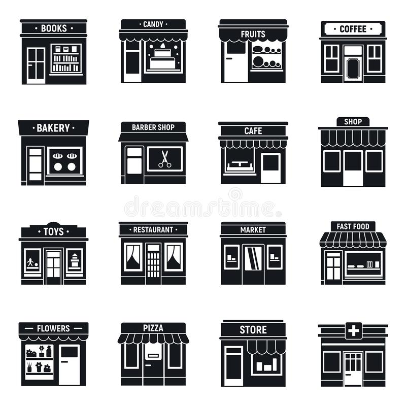Местный набор значков магазина дела, простой стиль бесплатная иллюстрация