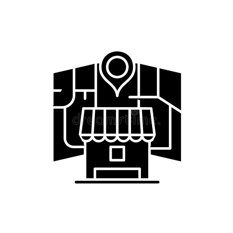 Местный онлайн значок черноты маркетинга, знак вектора на изолированной предпосылке Местный онлайн выходя на рынок символ концепц иллюстрация вектора