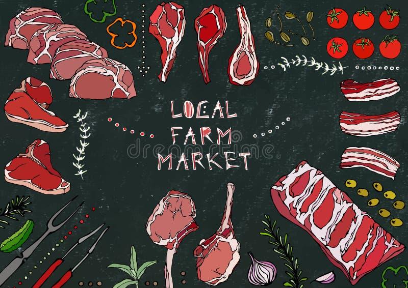 Местный рынок фермы Отрезки мяса - говядина, свинина, овечка, стейк, бескостный оковалок, жаркое нервюр, поясница и отбивные котл иллюстрация вектора