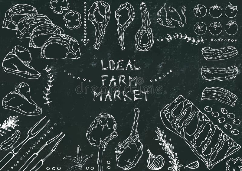 Местный рынок фермы Отрезки мяса - говядина, свинина, овечка, стейк, бескостный оковалок, жаркое нервюр, поясница и отбивные котл иллюстрация штока