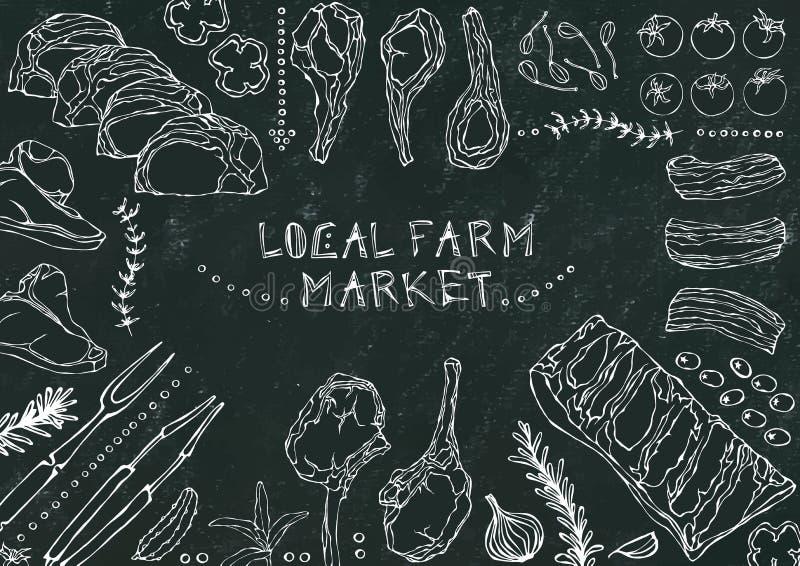 Местный рынок фермы Отрезки мяса - говядина, свинина, овечка, стейк, бескостный оковалок, жаркое нервюр, поясница и отбивные котл бесплатная иллюстрация