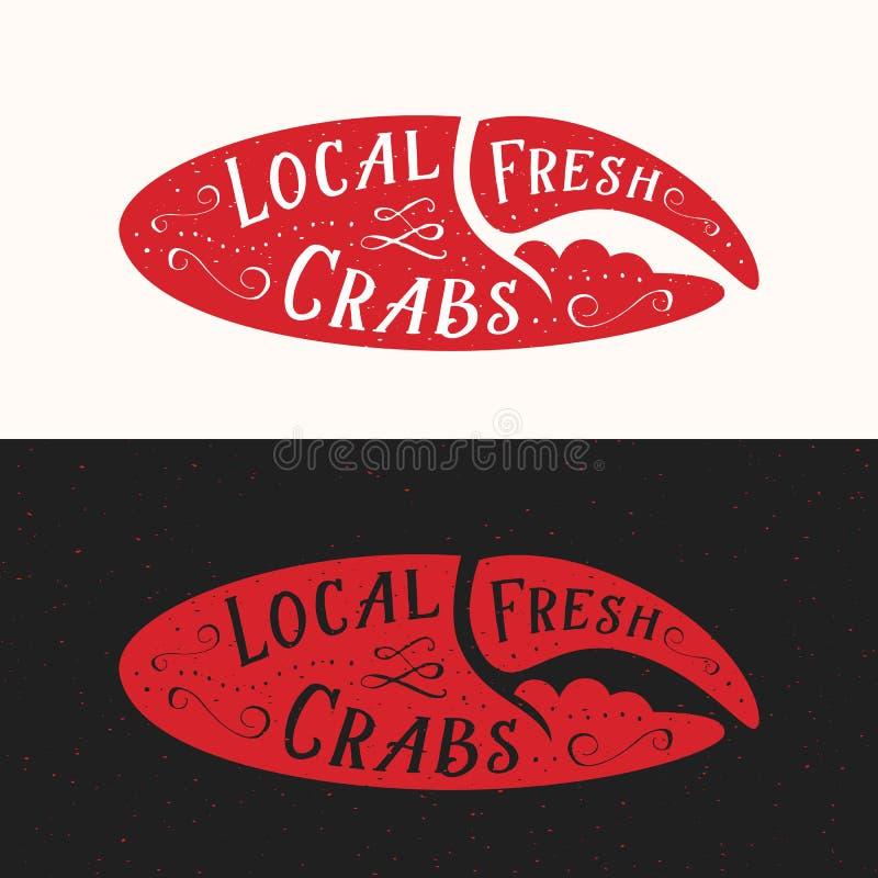 Местный свежий знак крабов Эмблема вектора морепродуктов абстрактные, значок или шаблон логотипа Красный силуэт когтя краба с рет иллюстрация вектора