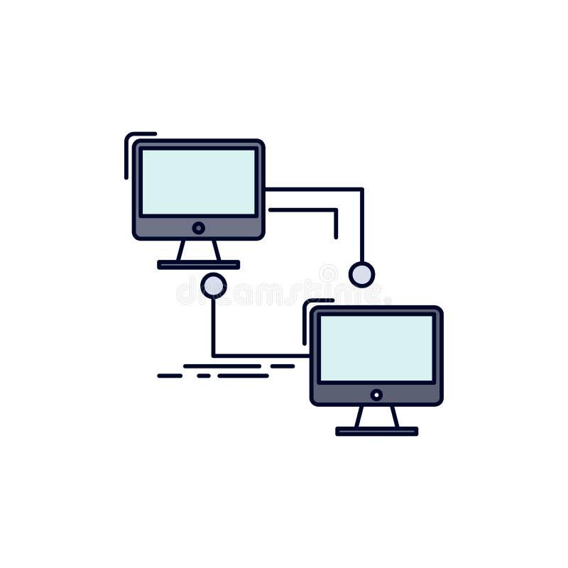 местный, lan, соединение, синхронизация, вектор значка цвета компьютера плоский бесплатная иллюстрация