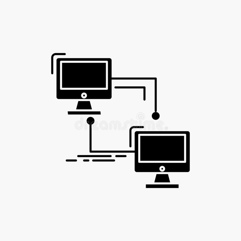 местный, lan, соединение, синхронизация, значок глифа компьютера r иллюстрация штока