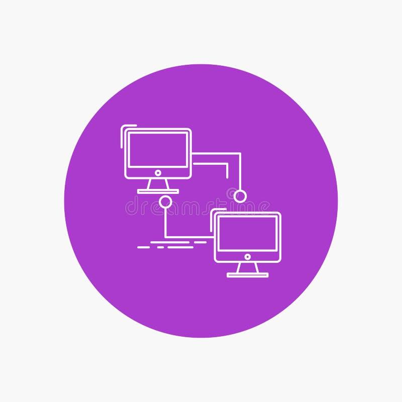 местный, lan, соединение, синхронизация, линия значок компьютера белая в предпосылке круга r иллюстрация вектора