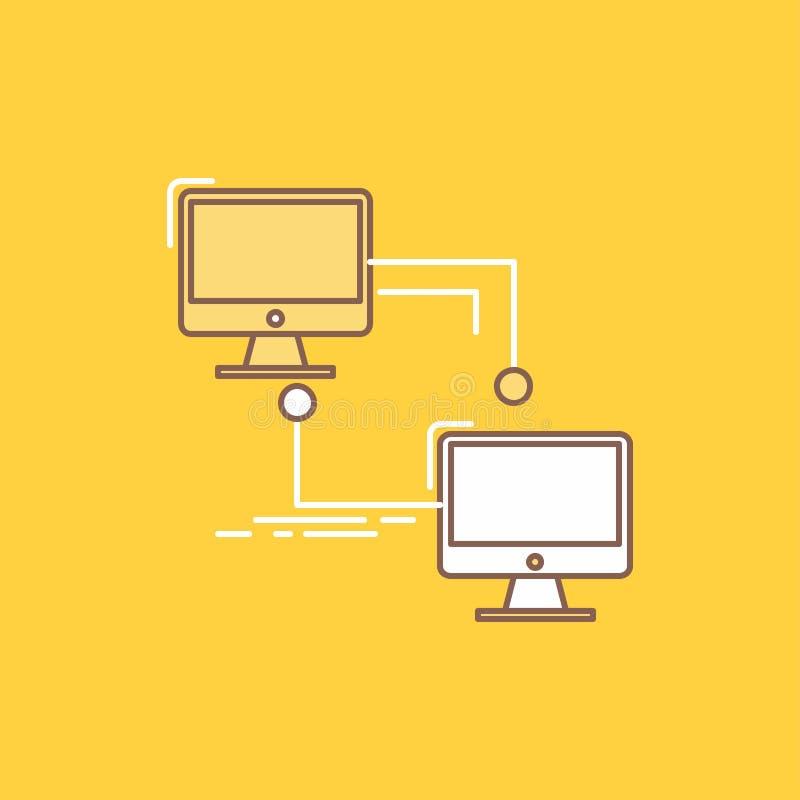 местный, lan, соединение, синхронизация, линия компьютера плоская заполнил значок Красивая кнопка логотипа над желтой предпосылко бесплатная иллюстрация