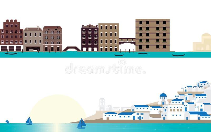 Место Венеция сцены назначения известное и ландшафт Santorini бесплатная иллюстрация