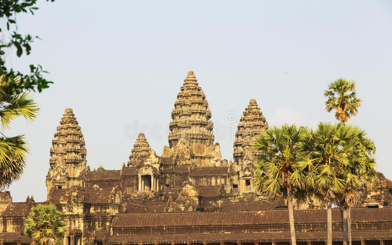 Место всемирного наследия руин виска Angkor Wat Камбоджи стоковое фото rf
