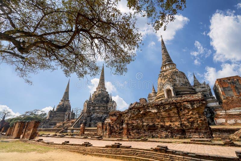 Место всемирного наследия на Wat Phra Si Sanphet ayutthaya Таиланд стоковое изображение rf