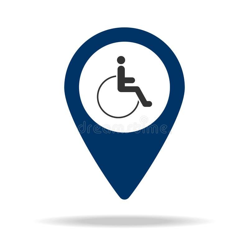место для людей с инвалидностью в голубой карте прикалывает значок Элемент пункта карты для передвижных концепции и сети app Знач иллюстрация штока