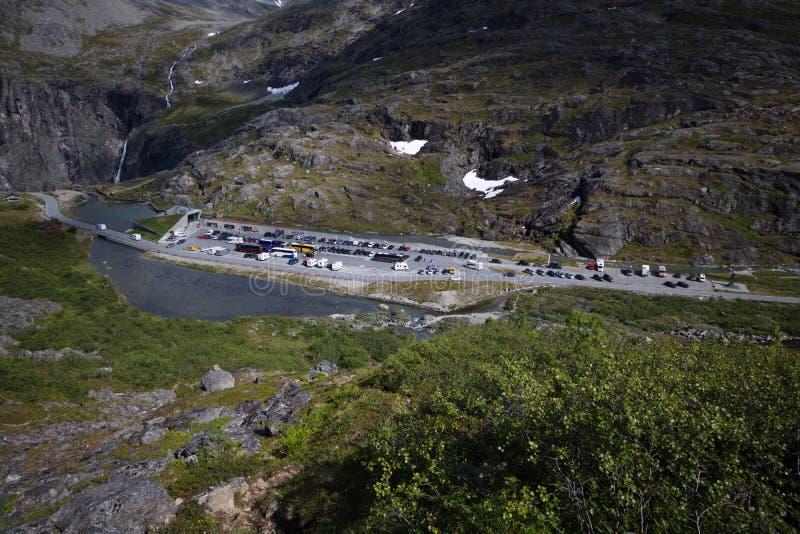 Место для парковки Trollstigen стоковое изображение rf