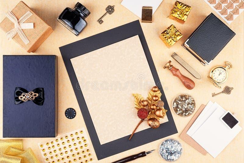 Место для работы поздравительной открытки шаблона с праздниками рождества и Нового Года стоковое изображение