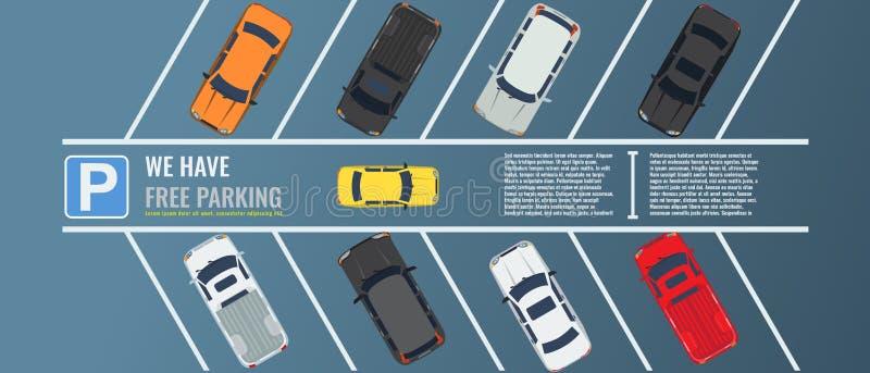 Место для стоянки города с группой в составе различное взгляд сверху автомобилей Публика парковочная Иллюстрация вектора плоская  иллюстрация штока
