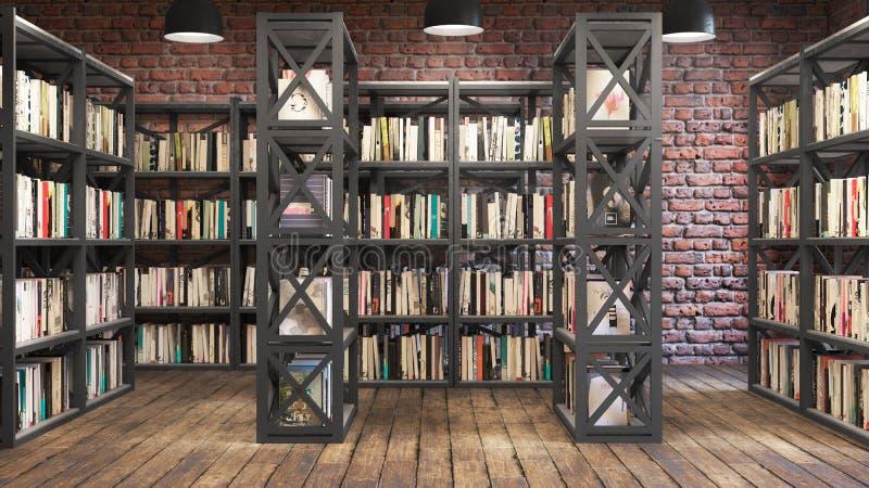 Место для чтения с книжными полками,Интерьер в стиле лофта, деревянный пол иллюстрация штока