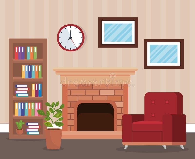 Место живущей комнаты с софой иллюстрация вектора