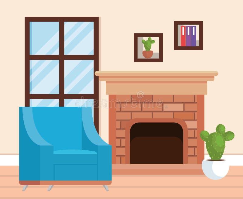 Место живущей комнаты с софой иллюстрация штока