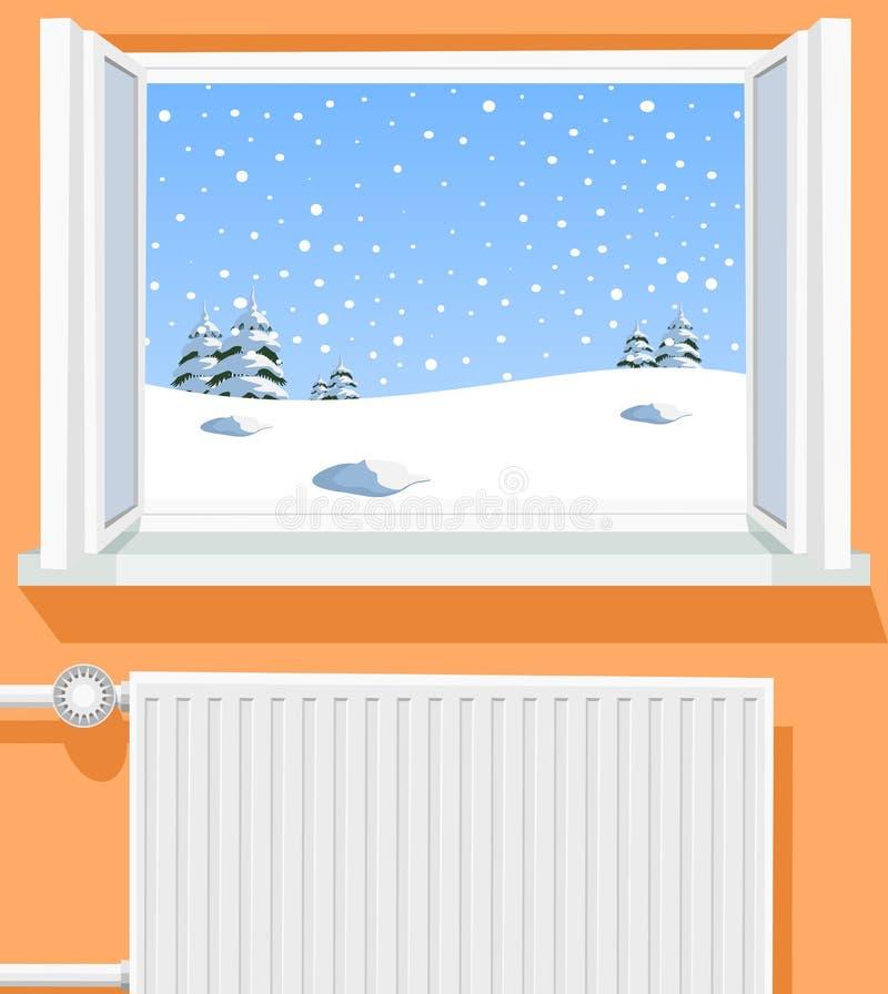 Место зимы через раскрытое окно бесплатная иллюстрация