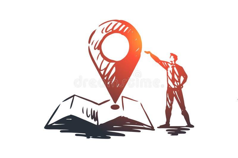 Место, знак, положение, штырь, концепция карты Вектор нарисованный рукой изолированный иллюстрация штока