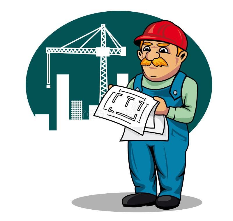 место инженер по строительству и монтажу иллюстрация вектора
