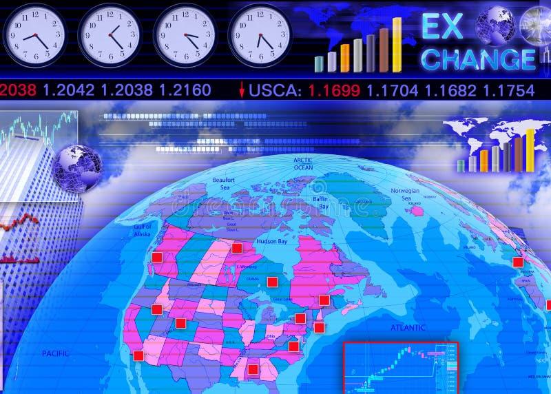 место иностранного рынка валютной биржи иллюстрация вектора