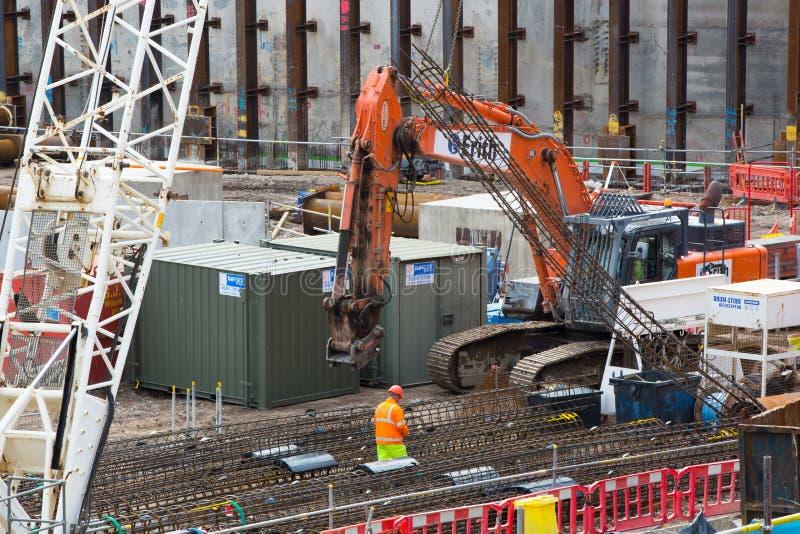 Место крана и строительной конструкции, ария Holborn стоковое фото